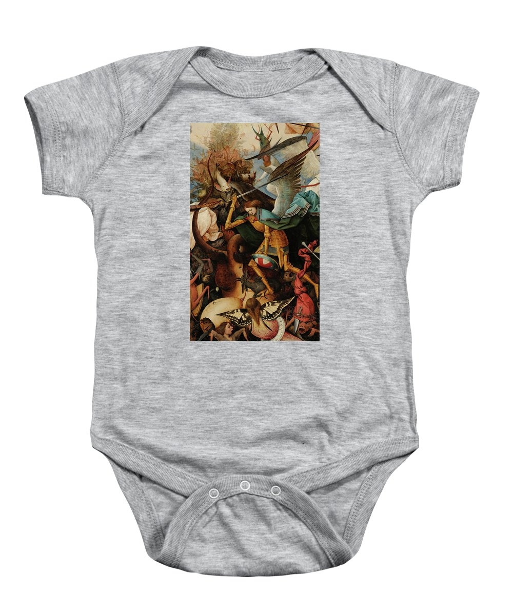 Pieter Bruegel The Elder Baby Onesie featuring the painting The Fall Of The Rebel Angels, Archangel Michael,1562 by Pieter Bruegel the Elder