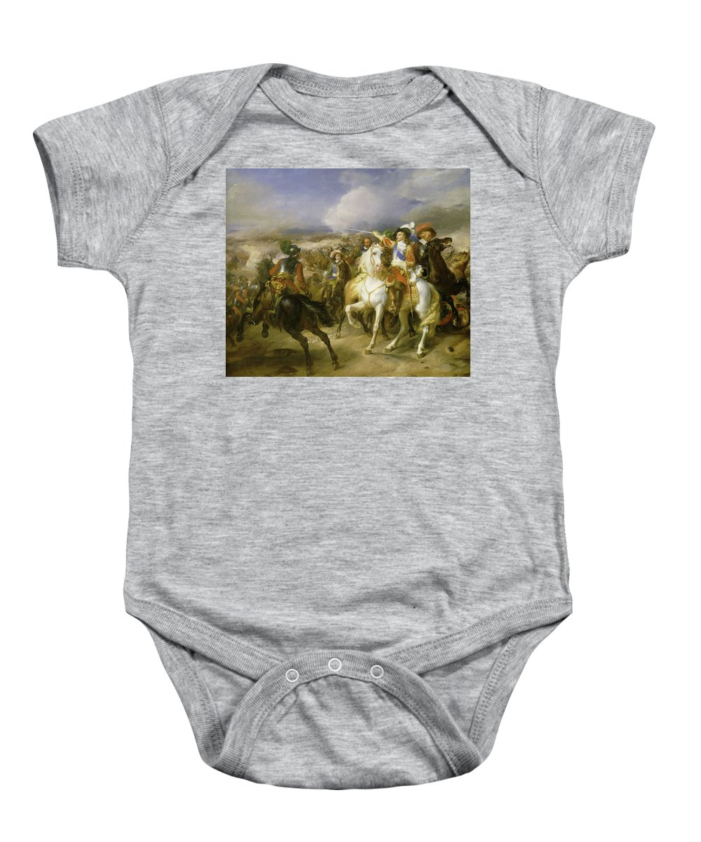 Franque Baby Onesie featuring the painting The Grand Conde At The Battle Of Lens, 1648 by Jean-Pierre Franque