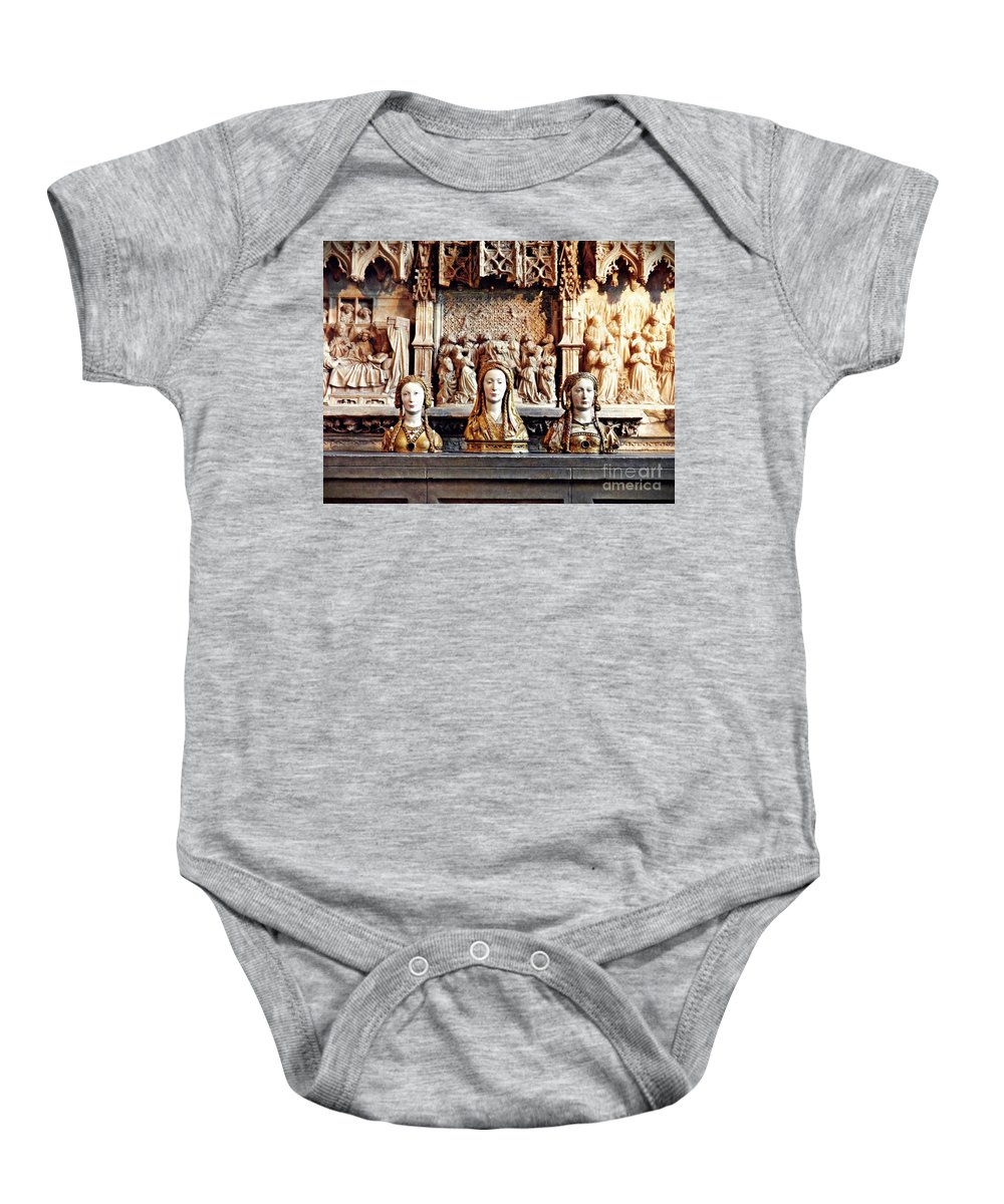 Reliquary Baby Onesie featuring the photograph The Ladies On The Altar by Sarah Loft