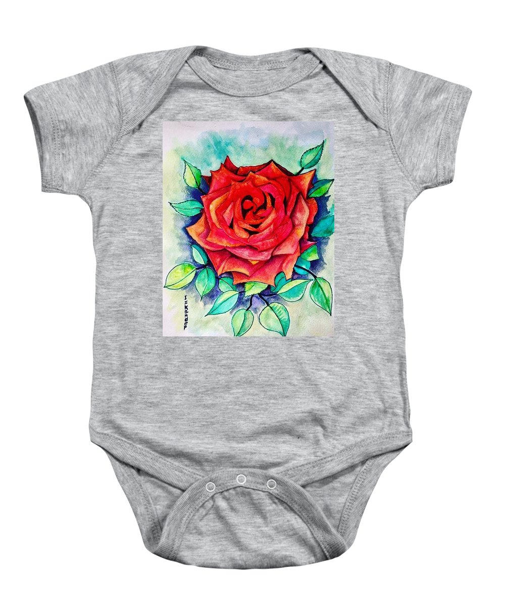 Roses Baby Onesie featuring the painting The Rose by Essam Iskander