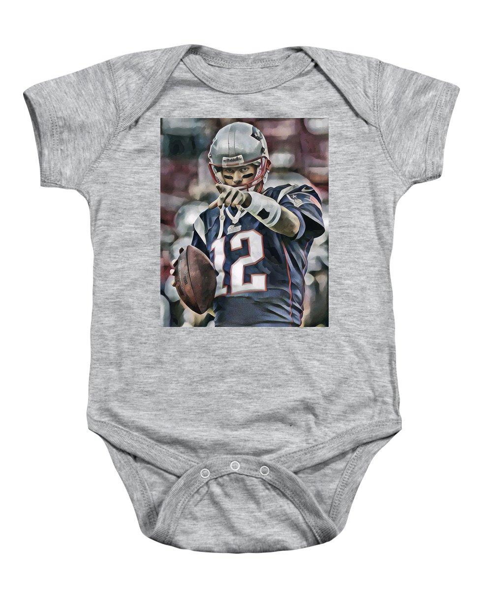 Tom Brady New England Patriots Abstract Art 50 Baby Onesie
