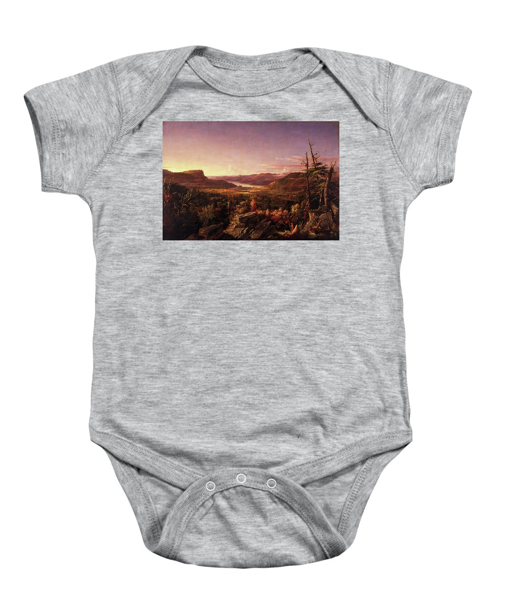 View Of Greenwood Lake Baby Onesie featuring the painting View Of Greenwood Lake, New Jersey by Jasper Francis Cropsey