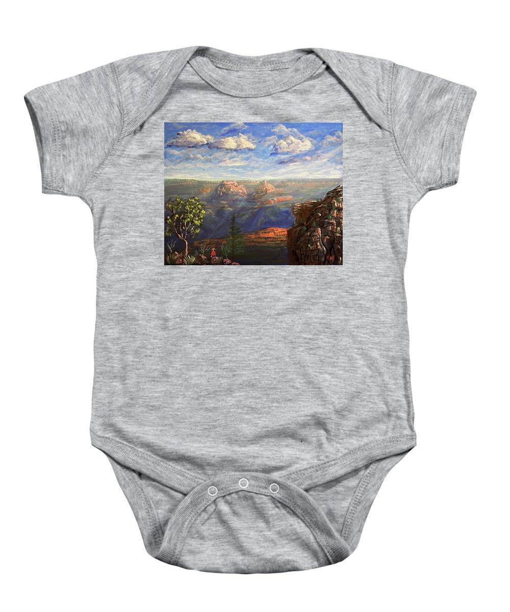 Vishnu Baby Onesie featuring the painting Vishnu Temple And Grand Canyon by Chance Kafka