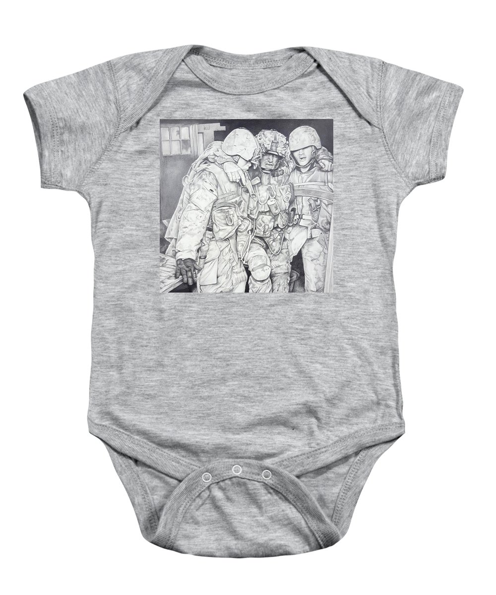 Pencil Baby Onesie featuring the drawing Wartime Loyalty by Janice Howell