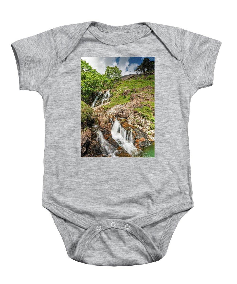 Watkin Path Baby Onesie featuring the photograph Watkin Path Waterfall Wales by Adrian Evans