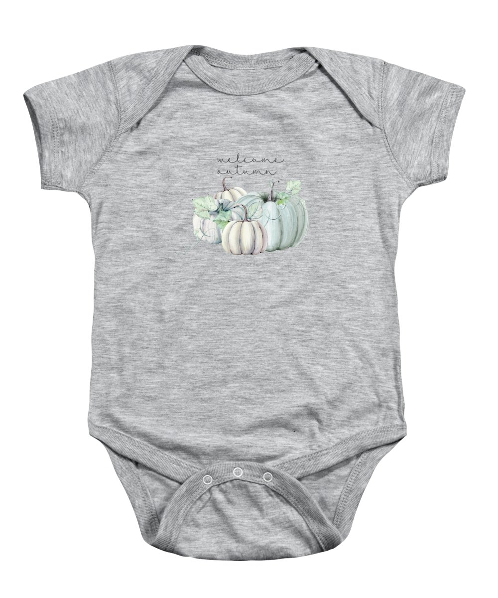 Graphic-design Baby Onesie featuring the digital art Welcome Autumn Blue Pumpkin by Sylvia Cook