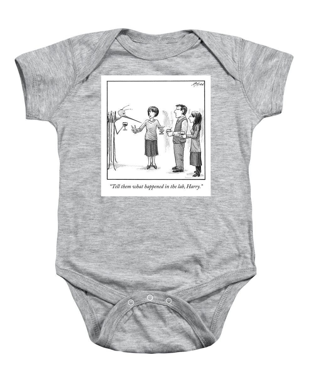 Cctk Baby Onesie featuring the drawing What Happened in the Lab by Harry Bliss