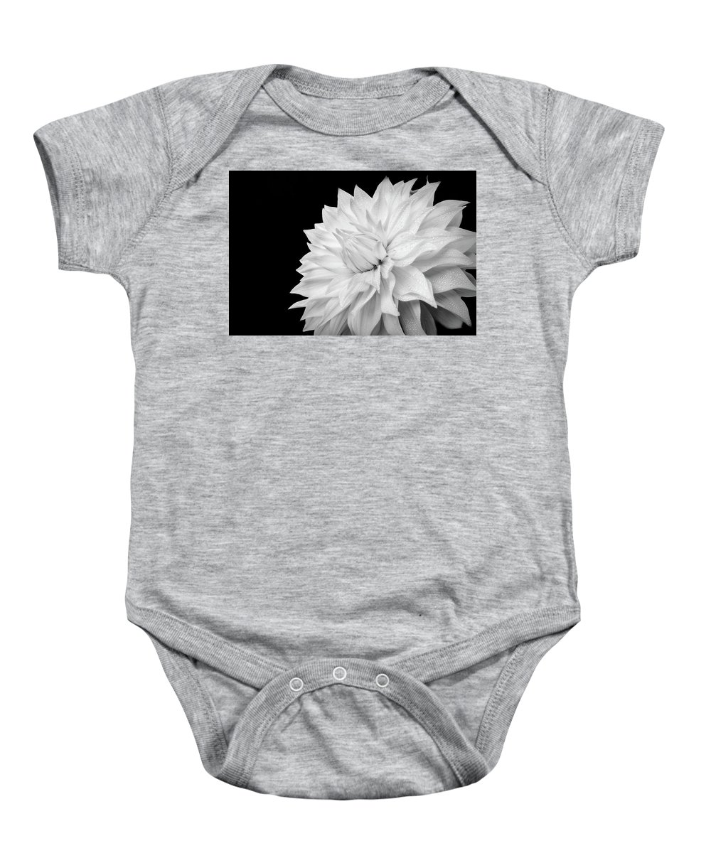 Dahlia Baby Onesie featuring the photograph White Dahlia by Judi Kubes