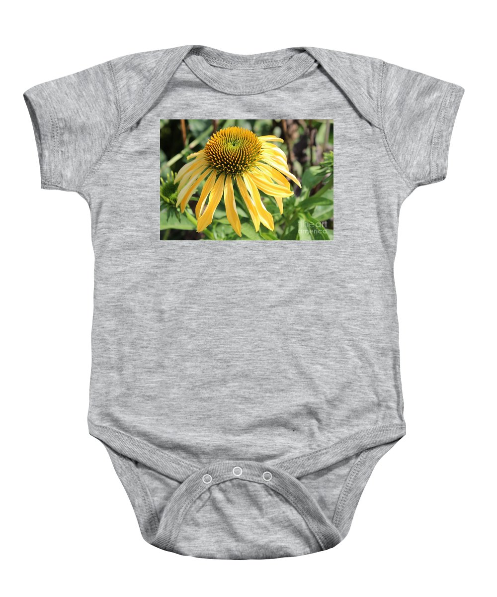 Yellow Flower Baby Onesie featuring the photograph Yellow Cone Flower by Leslie Gatson-Mudd