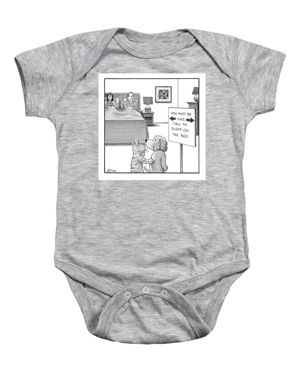 Captionless Baby Onesie featuring the drawing You Must Be This Tall by Harry Bliss