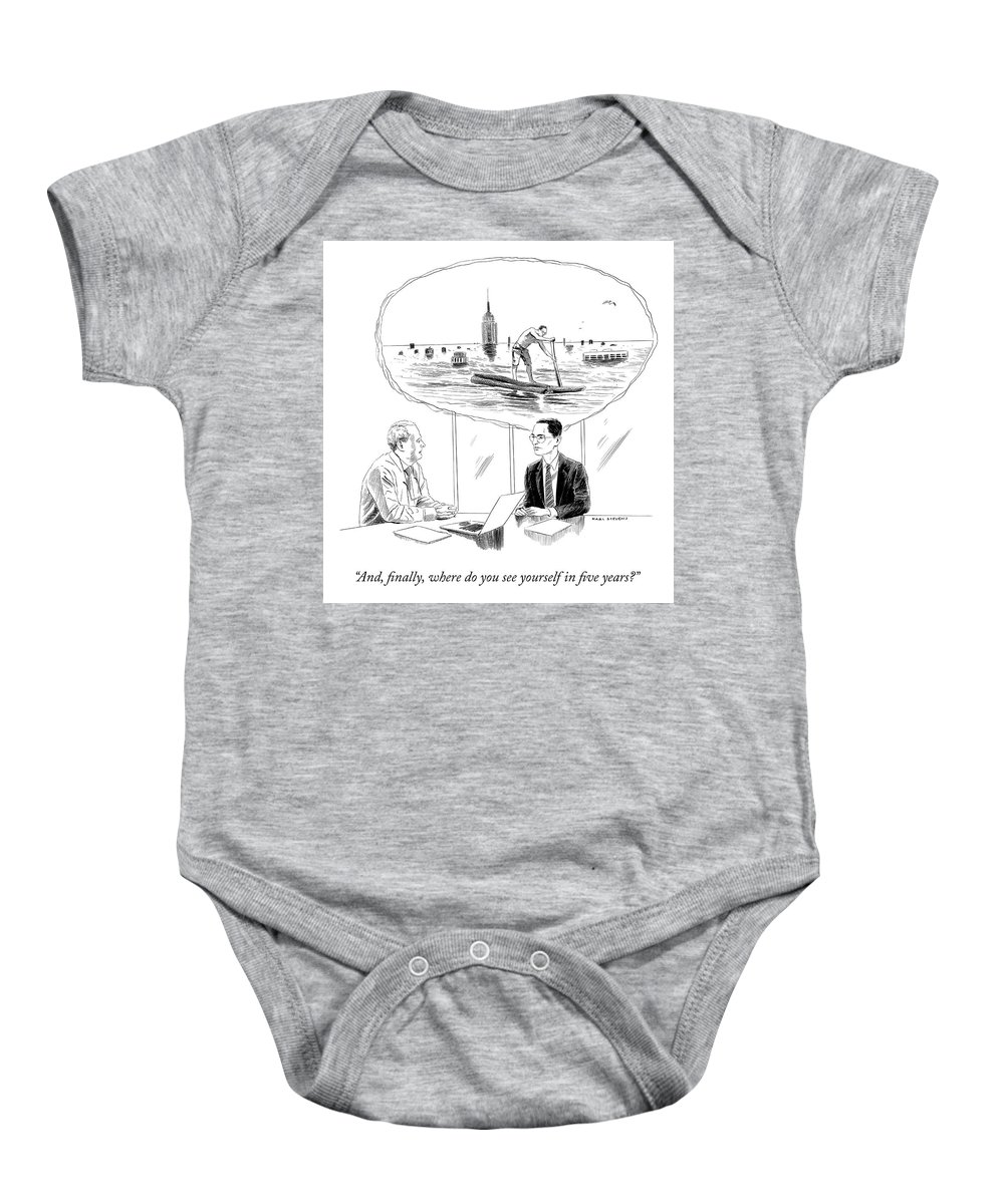 """and Finally Baby Onesie featuring the drawing Yourself in Five Years by Karl Stevens"