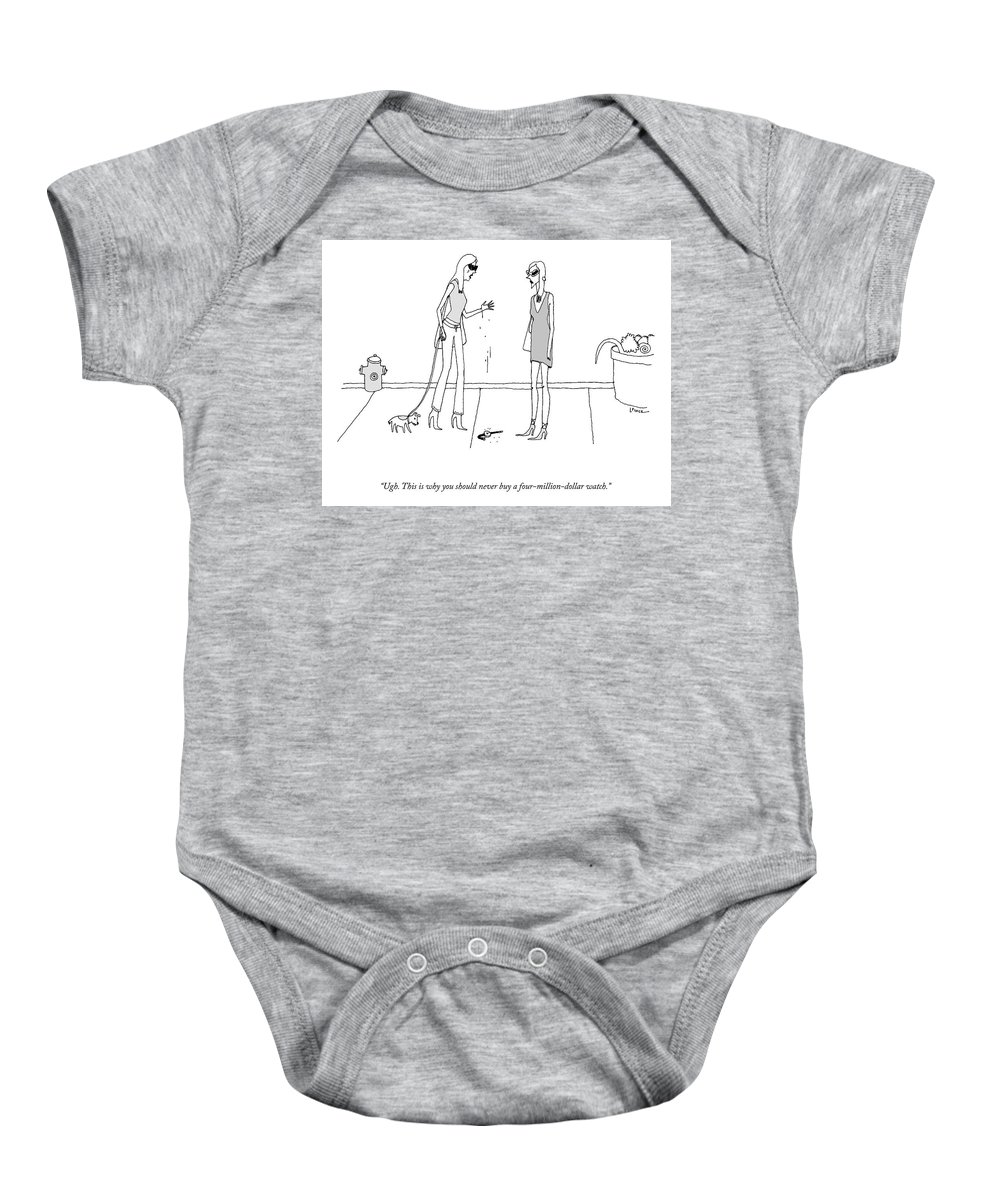 A24720 Baby Onesie featuring the drawing A Four Million Dollar Watch by Liana Finck