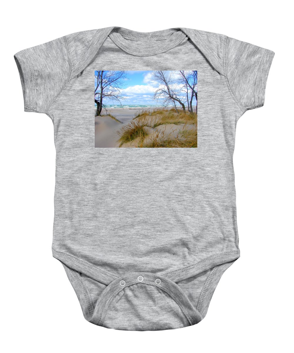 Trees Baby Onesie featuring the photograph Big Waves on Lake Michigan by Michelle Calkins