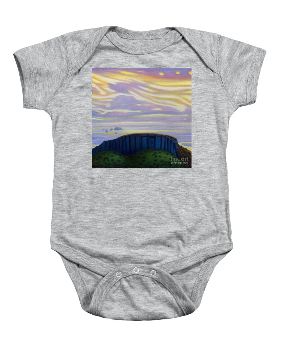 Black Mesa Baby Onesie featuring the painting Black Mesa by Brian Commerford