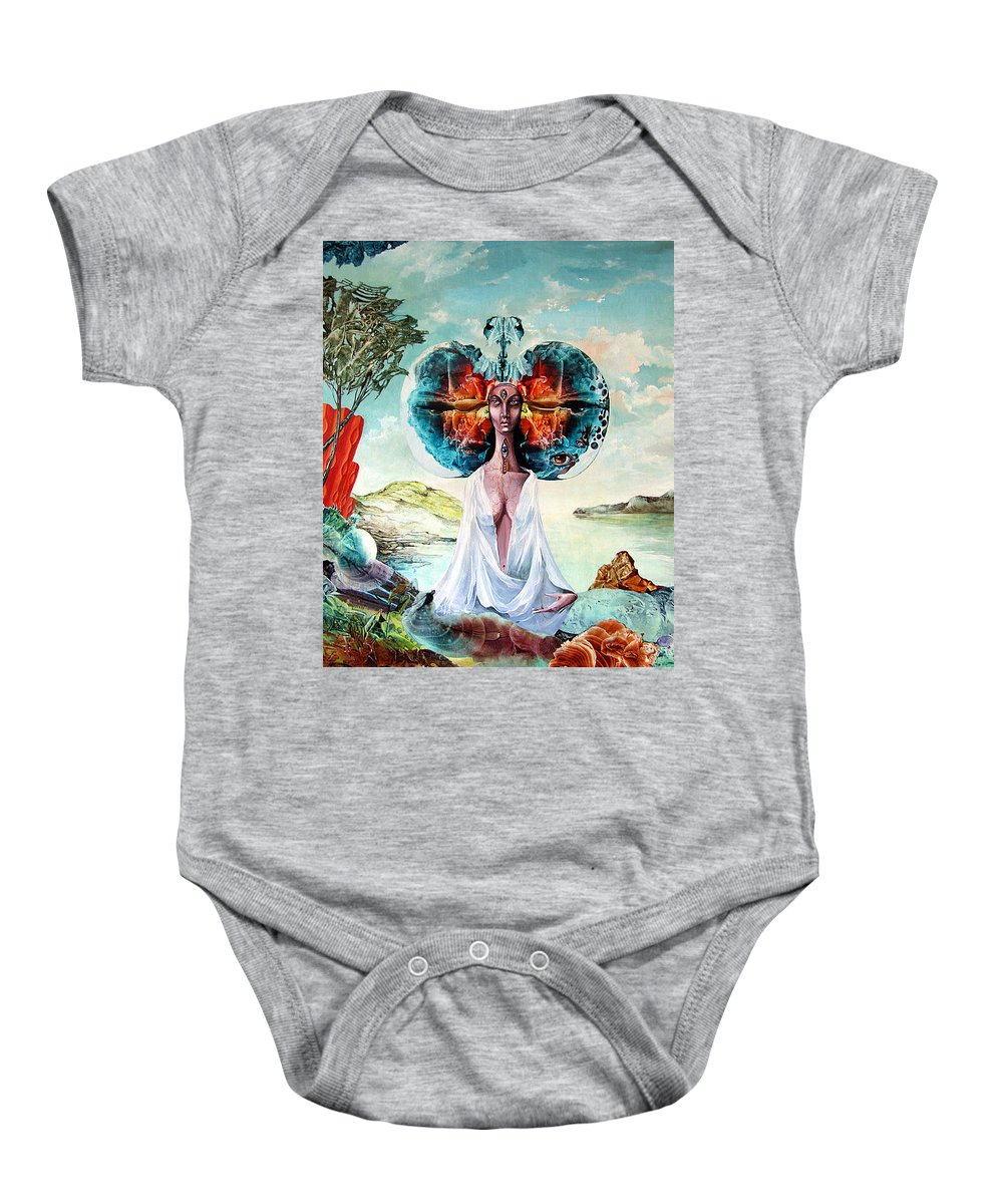 Surrealism Baby Onesie featuring the painting Bogomils Landing by Otto Rapp