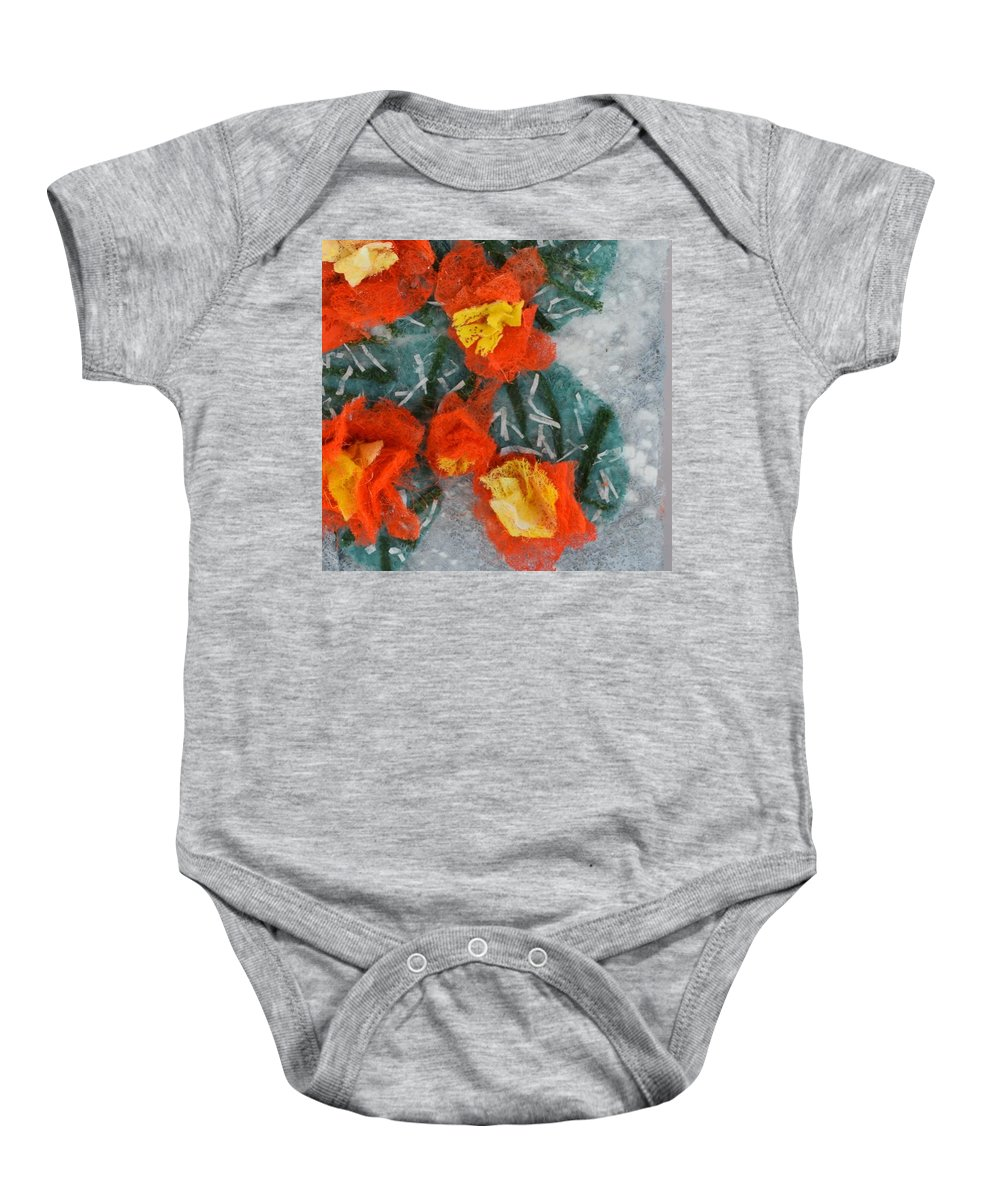 Dryer Sheets Baby Onesie featuring the mixed media Cactus Flowers by Charla Van Vlack