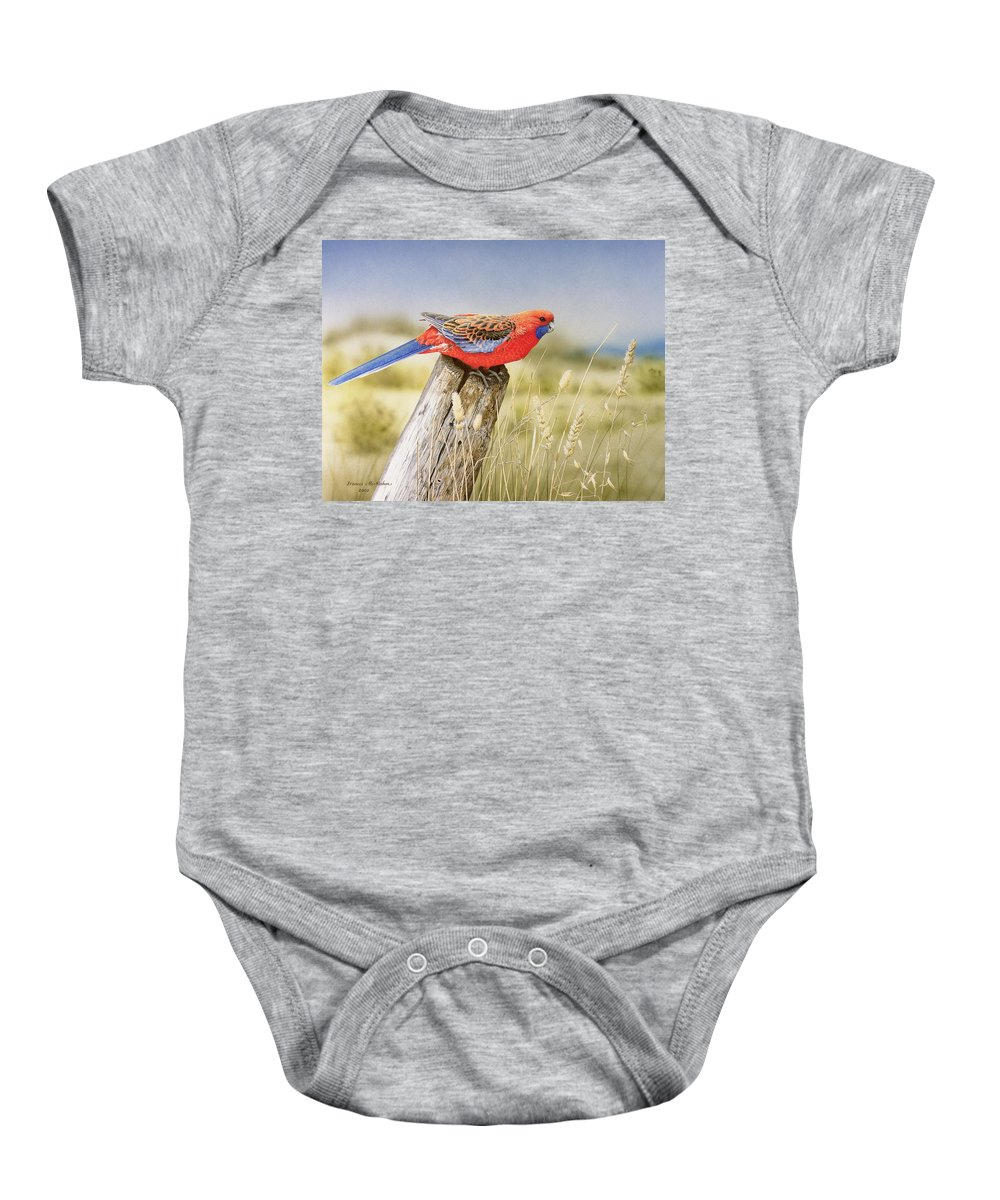 Bird Baby Onesie featuring the painting Colour and Light - Crimson Rosella by Frances McMahon