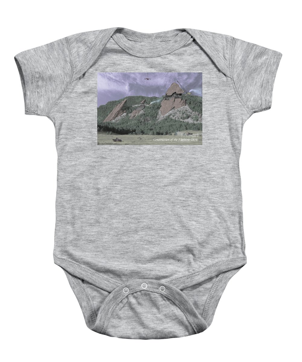 Boulder Baby Onesie featuring the photograph Construction of the Flatirons - 1931 by Jerry McElroy