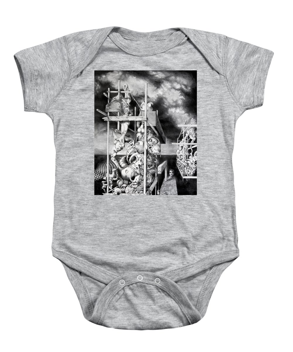 Surrealism Baby Onesie featuring the drawing Cthulhu Monuments by Otto Rapp
