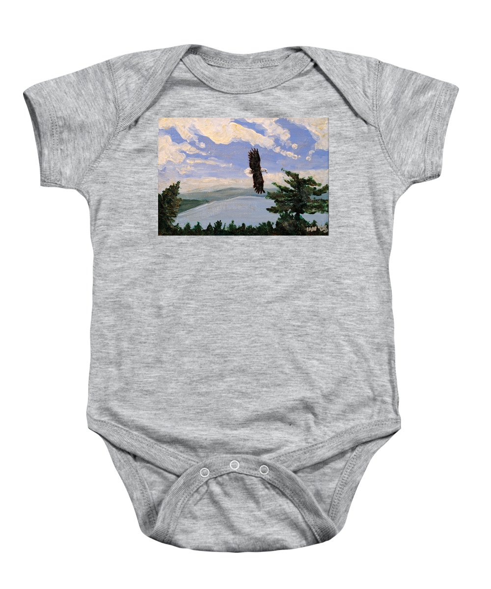 Bald Headed Eagle Baby Onesie featuring the painting Eagles Fly Over Lake Huron by Ian MacDonald