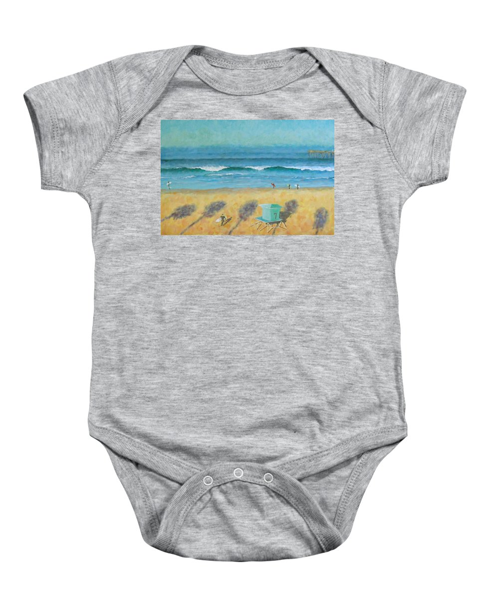 Life Guard Tower Baby Onesie featuring the painting Tower Number Seven by Philip Fleischer