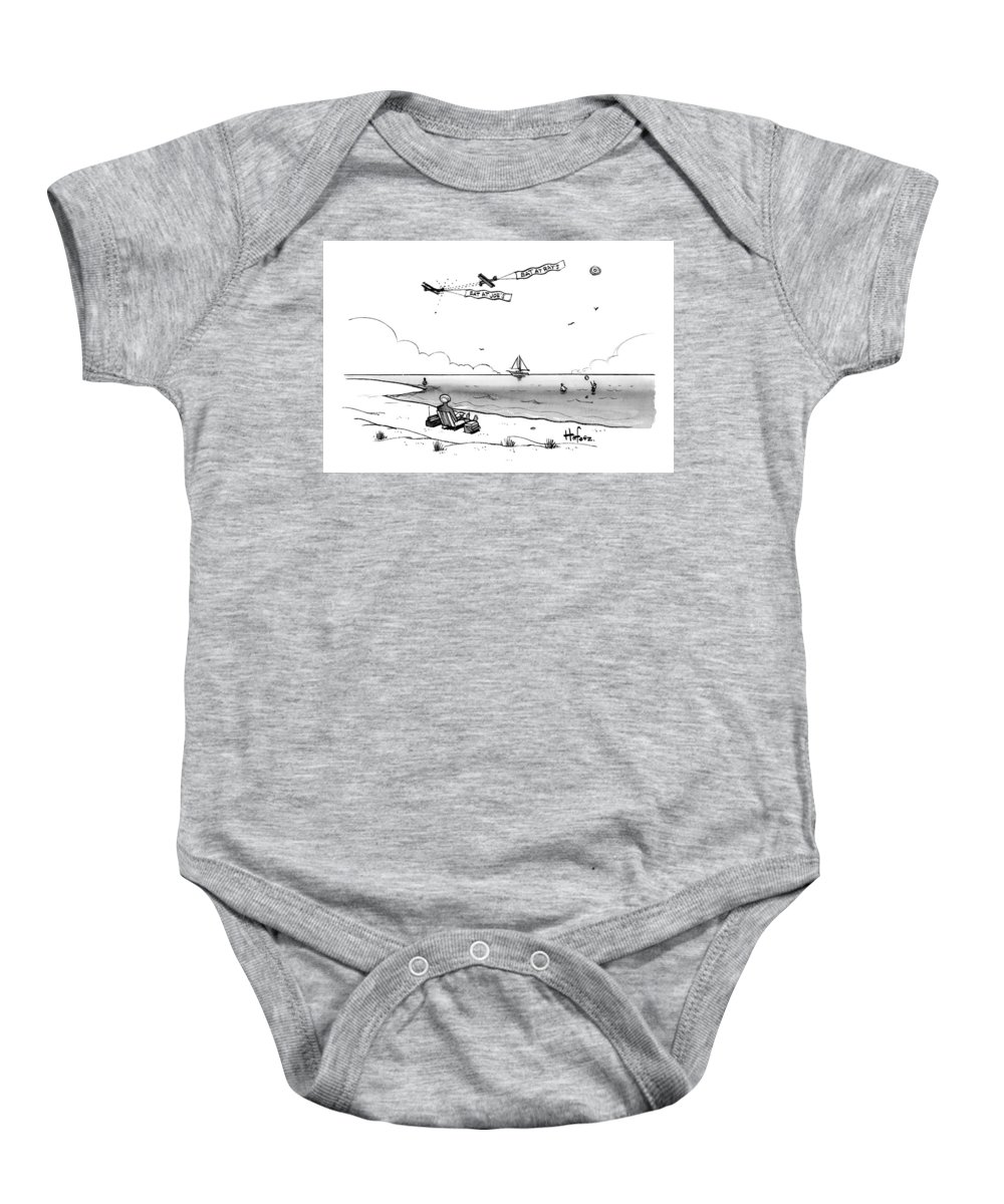 Caoptionless Baby Onesie featuring the drawing Eat At Ray's by Kaamran Hafeez