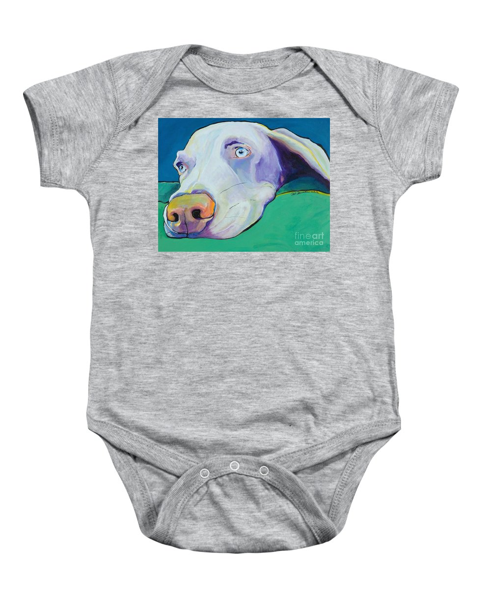 Pat Saunders-white Baby Onesie featuring the painting Fritz by Pat Saunders-White