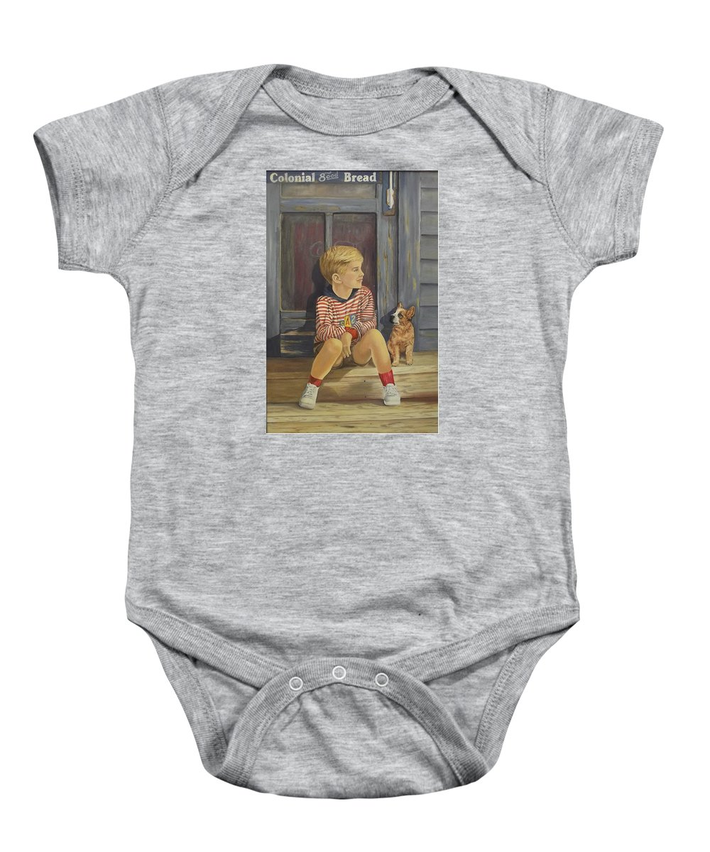 A Young Boy And His Dog Baby Onesie featuring the painting Grandpas Country Store by Wanda Dansereau