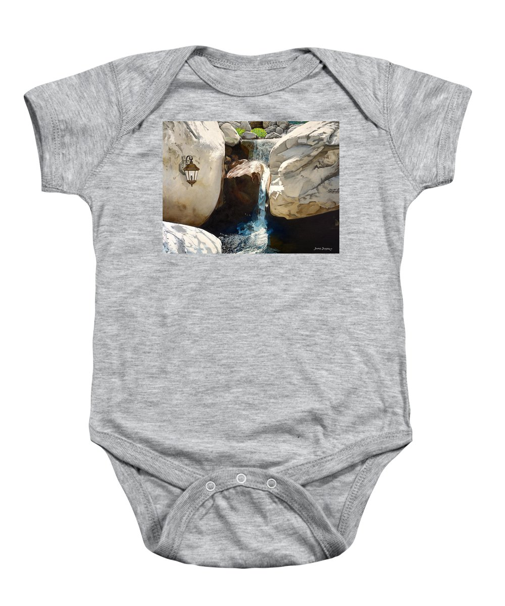 Landscape Baby Onesie featuring the painting Guiding Light by Snake Jagger