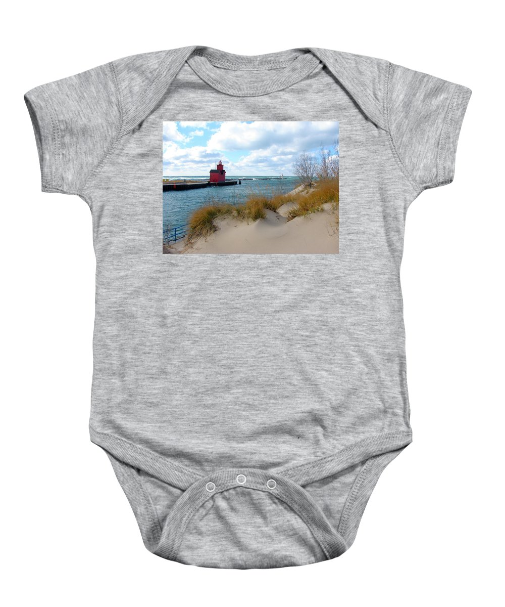 Lighthouse Baby Onesie featuring the photograph Holland Harbor Lighthouse - Big Red - Michigan by Michelle Calkins