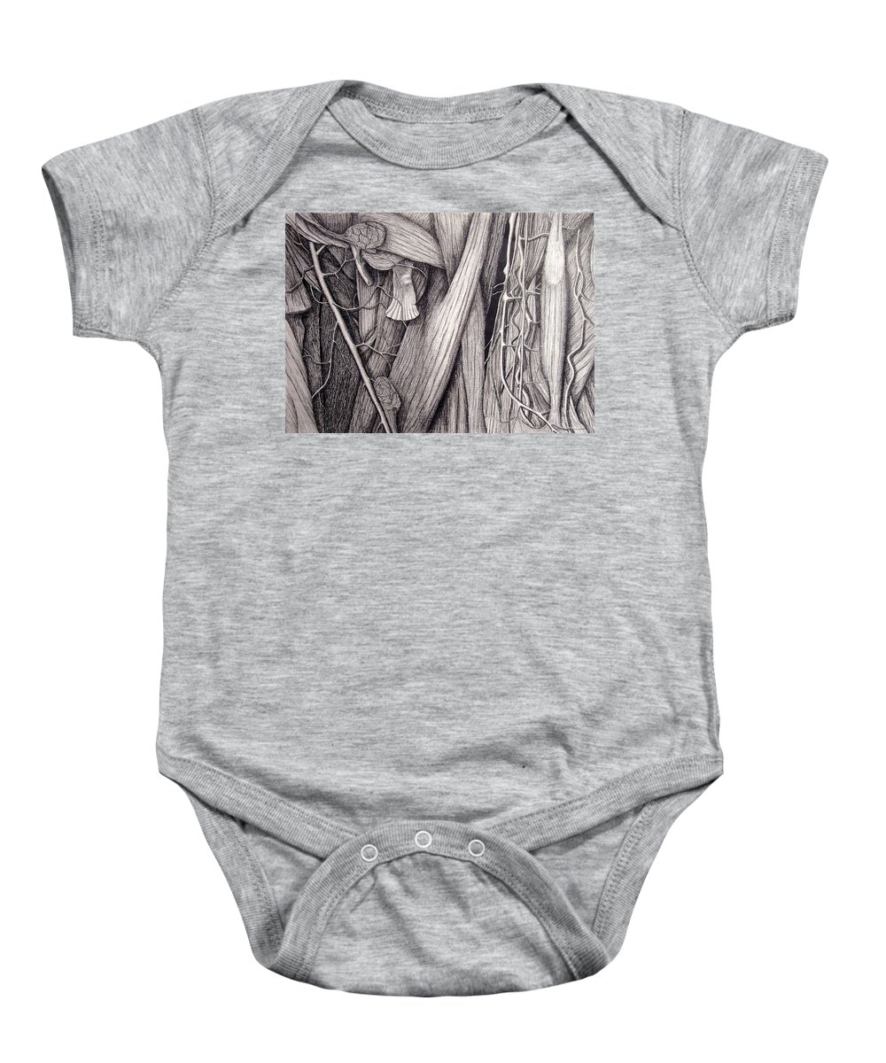 Veins Baby Onesie featuring the drawing Internal Scape by Nancy Mueller