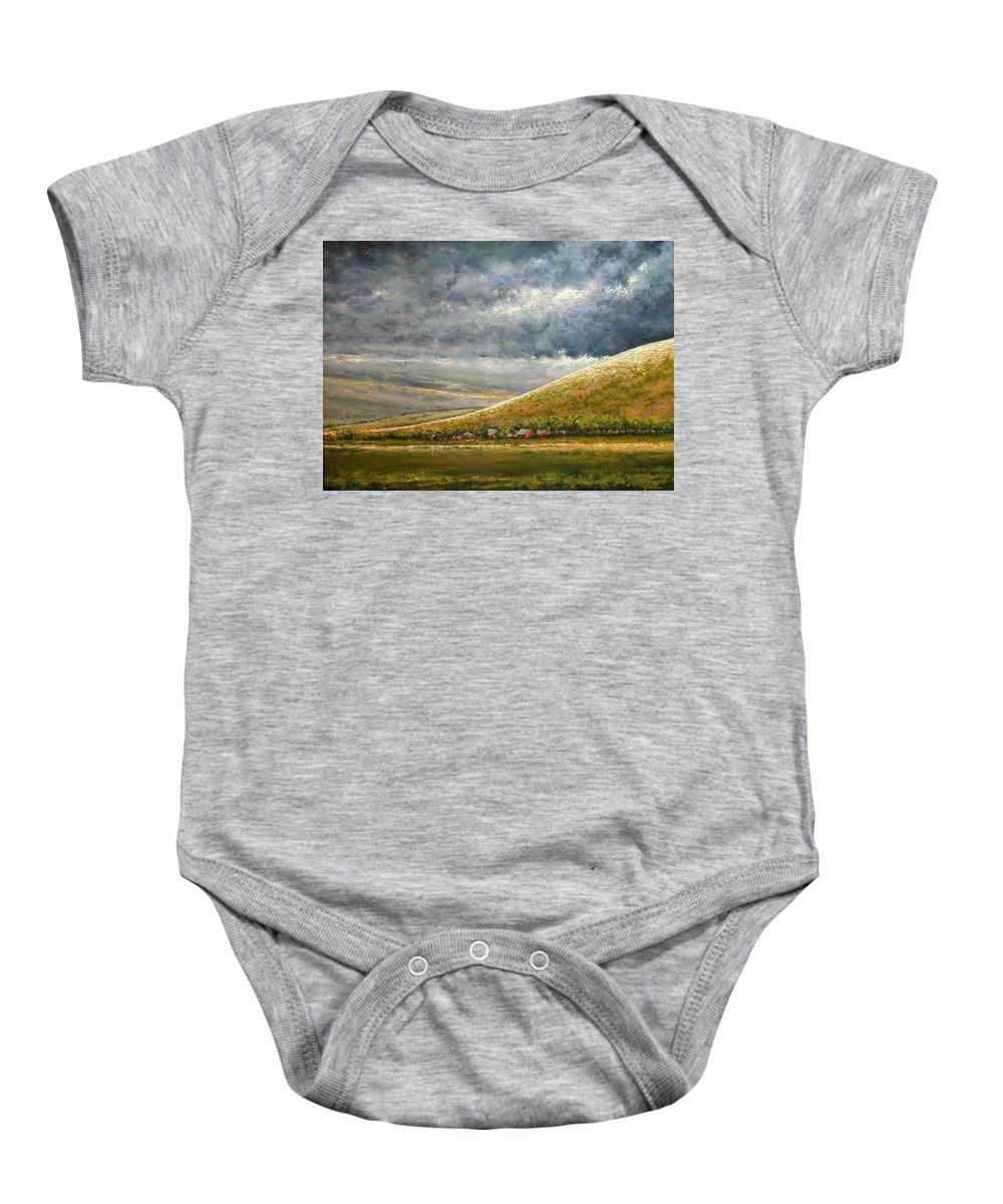Landscape Baby Onesie featuring the painting Lightburst-Jackson Hole by Jim Gola