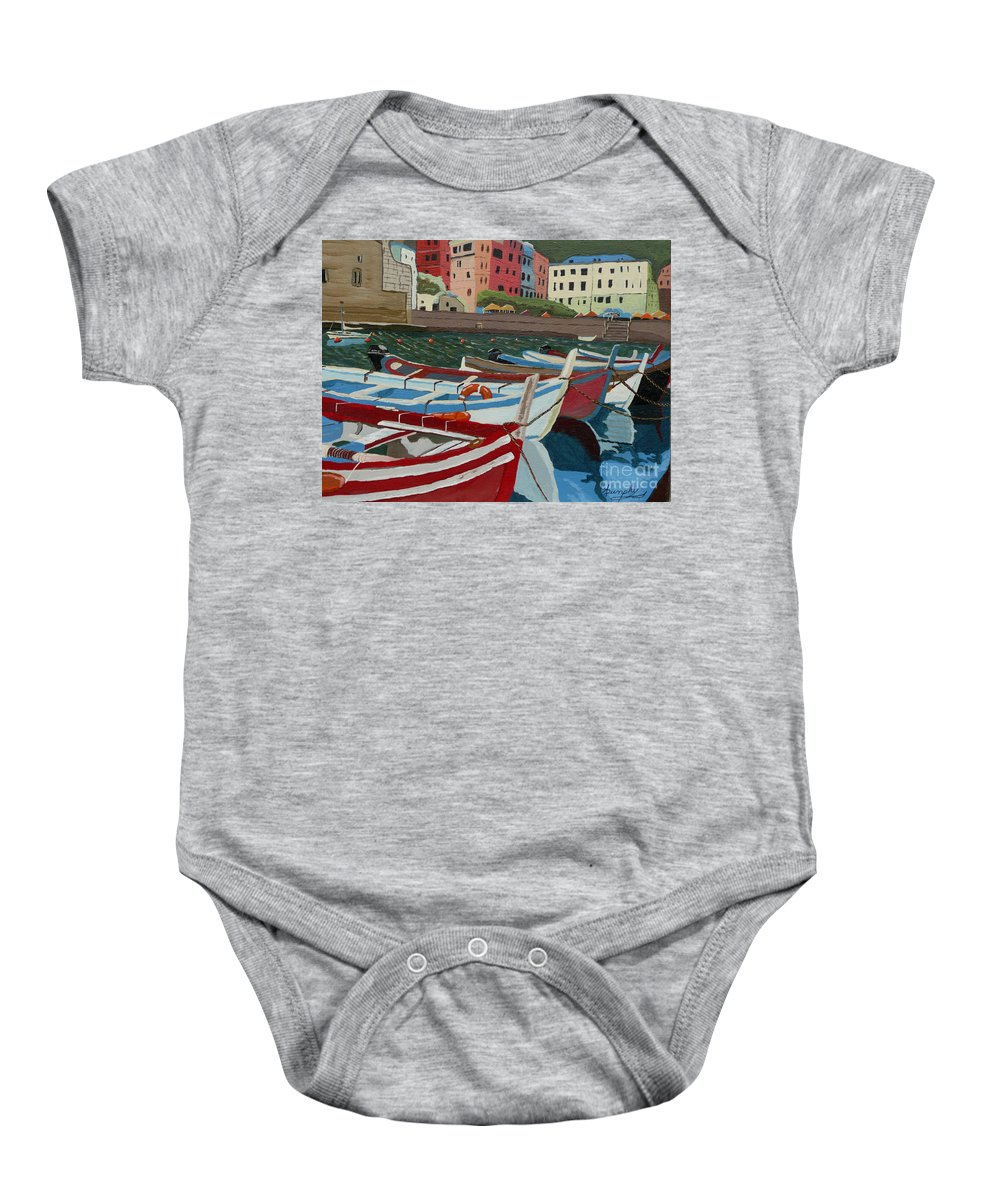 Italy Baby Onesie featuring the painting Little Boats of Italy by Anthony Dunphy