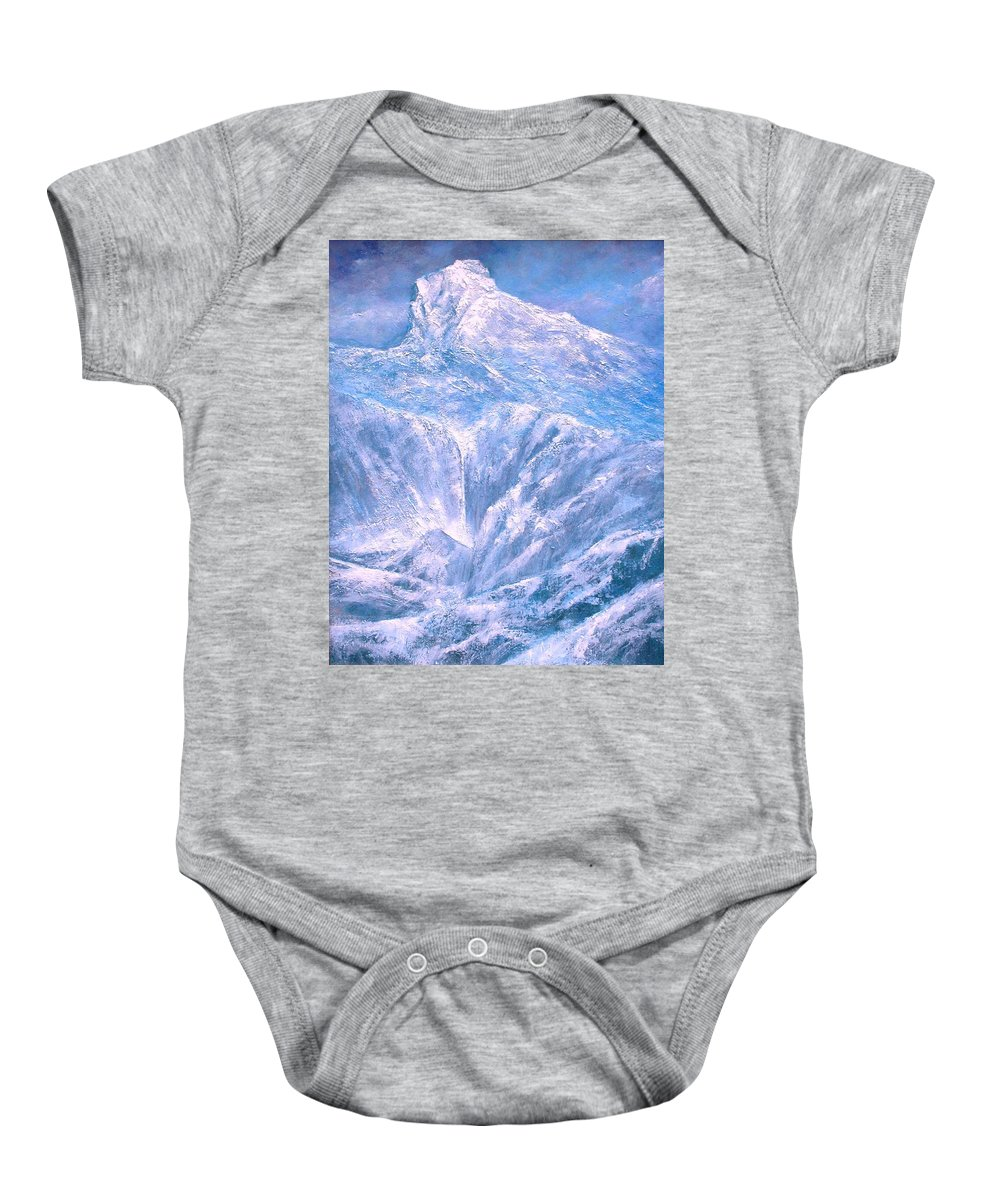 Landscape Baby Onesie featuring the painting Near the Tetons by Jim Gola