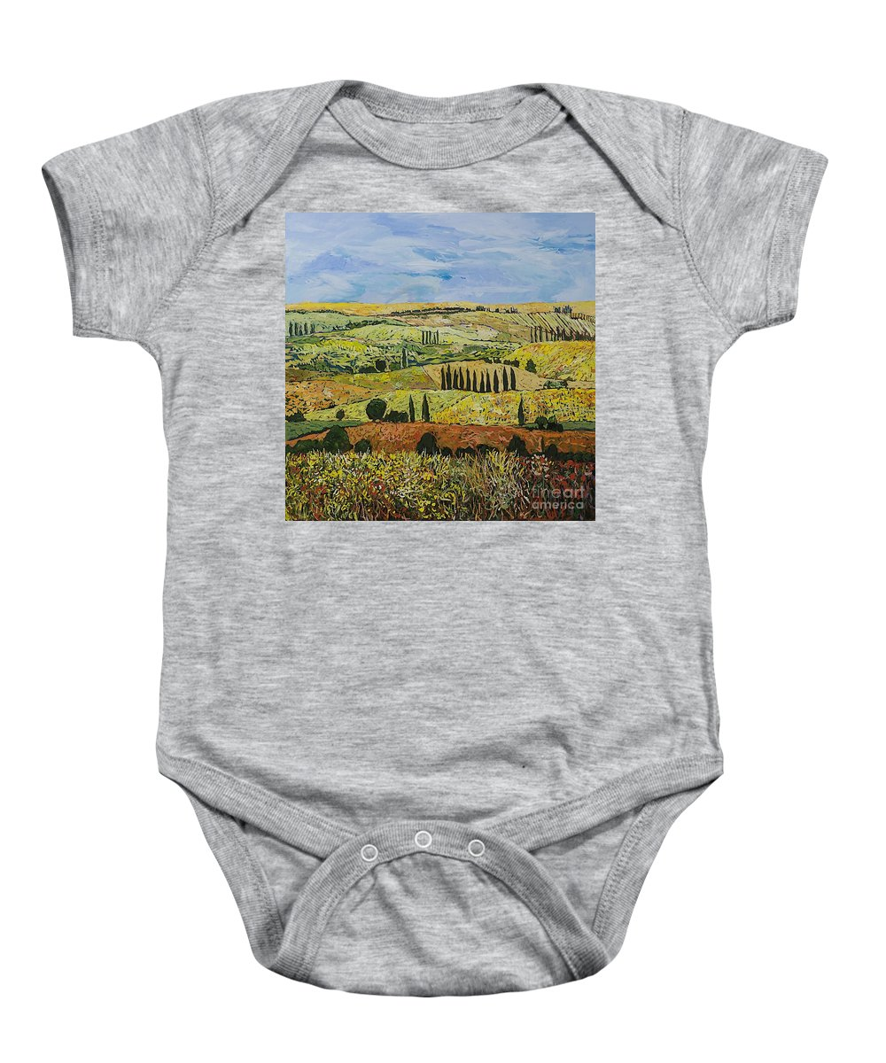 Landscape Baby Onesie featuring the painting October Liberation by Allan P Friedlander