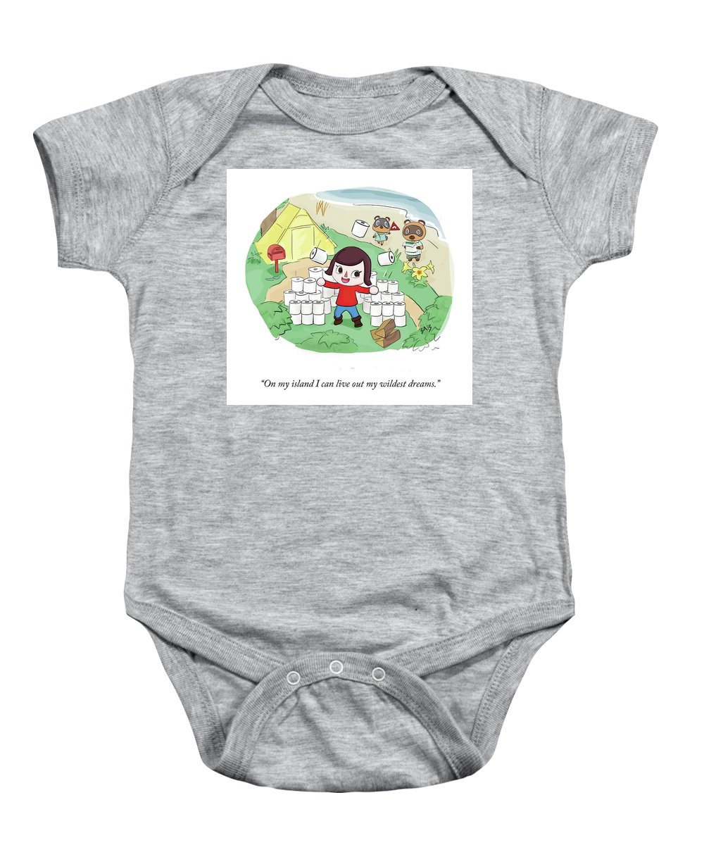 On My Island I Can Live Out My Wildest Dreams. Baby Onesie featuring the drawing On My Island by Brooke Bourgeois