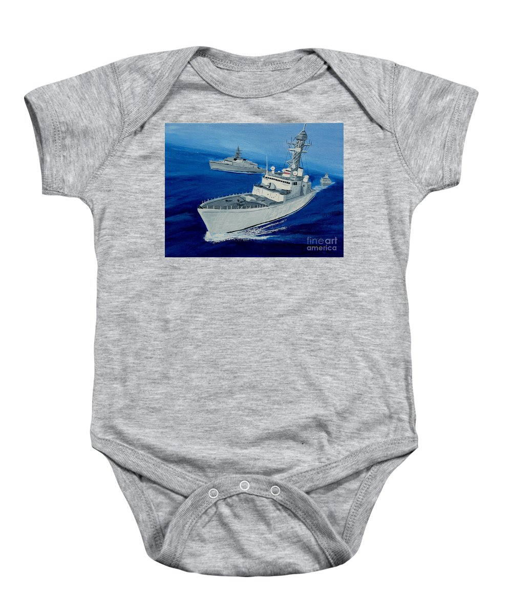 Navy Baby Onesie featuring the painting On Patrol by Anthony Dunphy