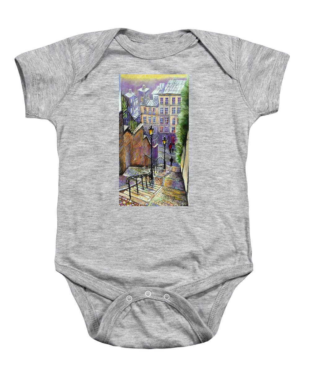 Cityscape Baby Onesie featuring the painting Paris Montmartre Steps by Yuriy Shevchuk