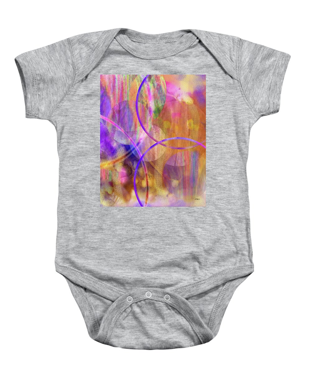 Pastel Planets Baby Onesie featuring the digital art Pastel Planets by Studio B Prints
