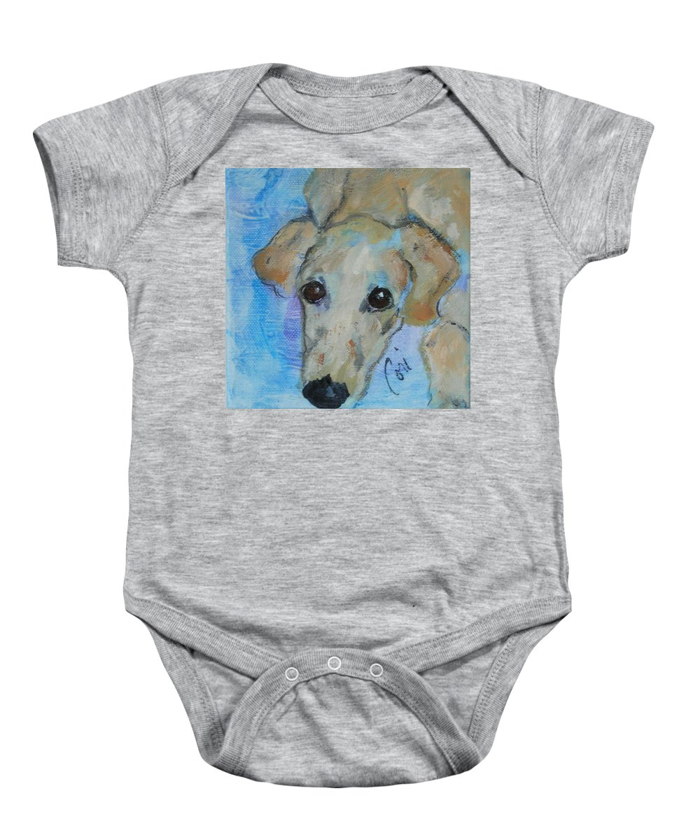 Acrylic Baby Onesie featuring the drawing Pupster by Cori Solomon