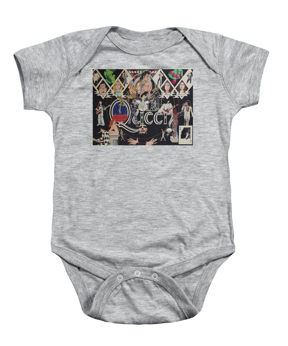 Queen Baby Onesie featuring the drawing Queen - Black Queen White Queen by Sean Connolly