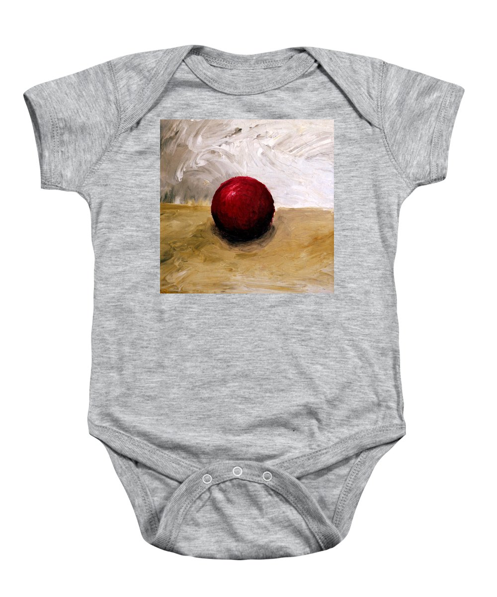 Red Baby Onesie featuring the painting Red Sphere by Michelle Calkins
