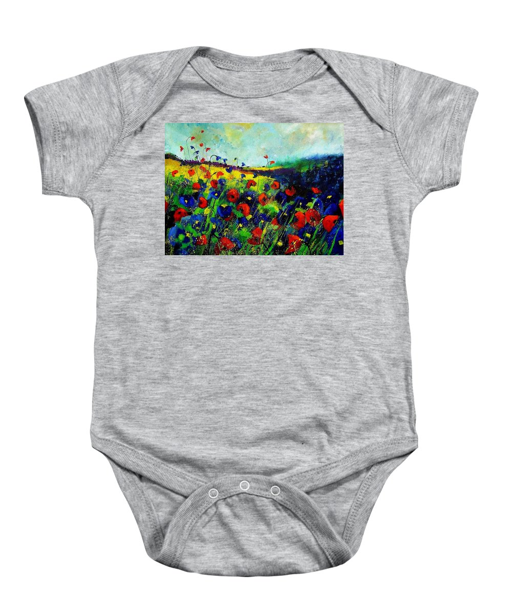Flowers Baby Onesie featuring the painting Reda nd blue poppies 68 by Pol Ledent
