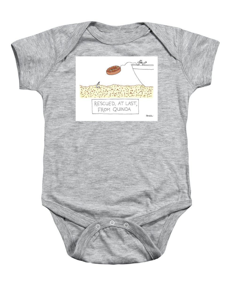Captionless Baby Onesie featuring the drawing Rescued At Last by Charlie Hankin