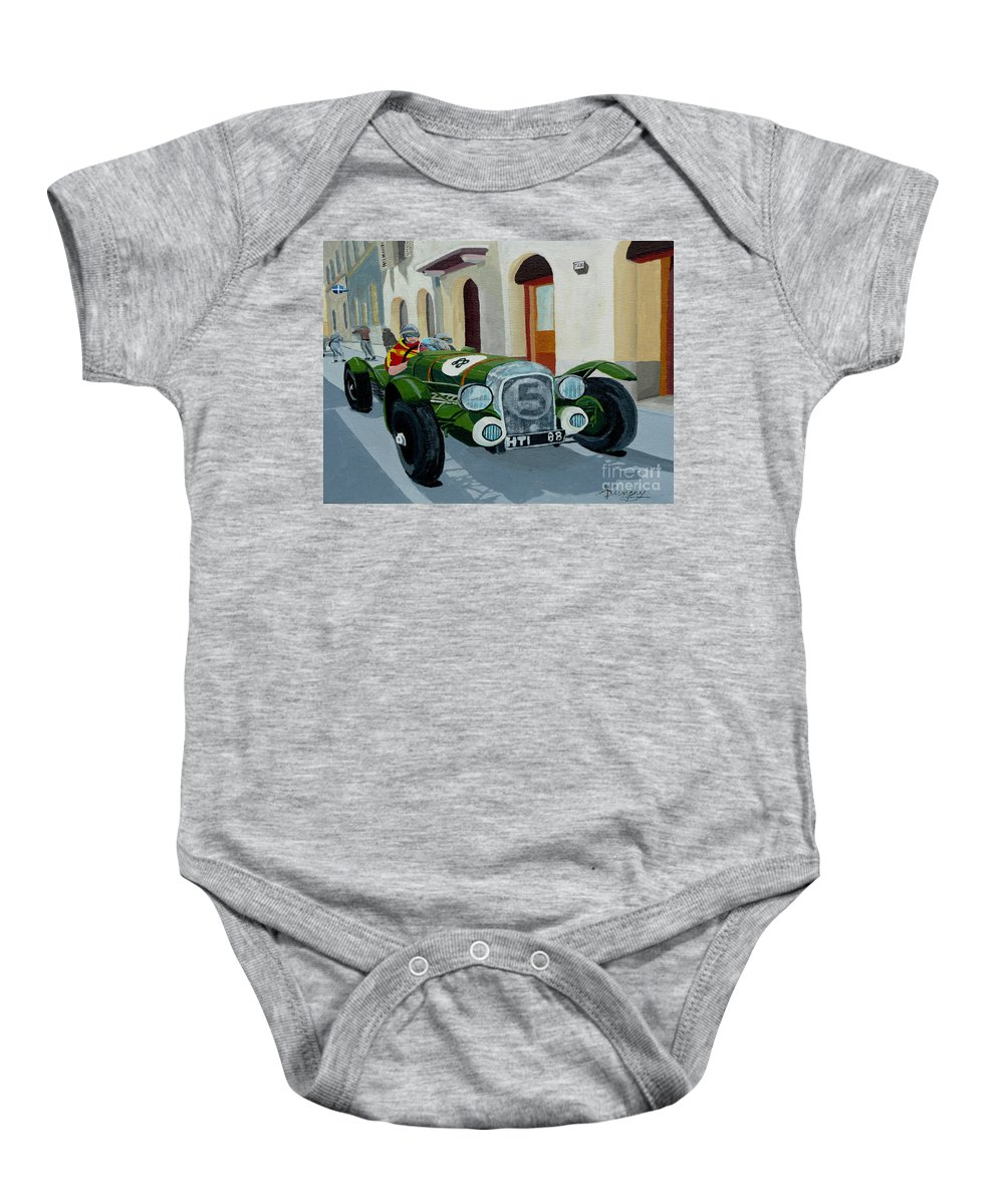 Car Baby Onesie featuring the painting Road Rally by Anthony Dunphy