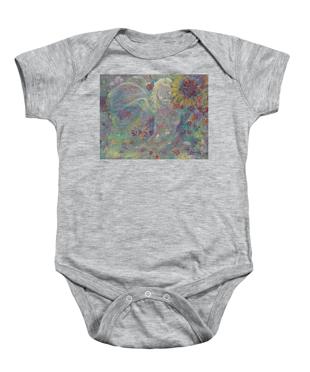 Angels Baby Onesie featuring the painting Secret Garden Angel 1 by Natalie Holland