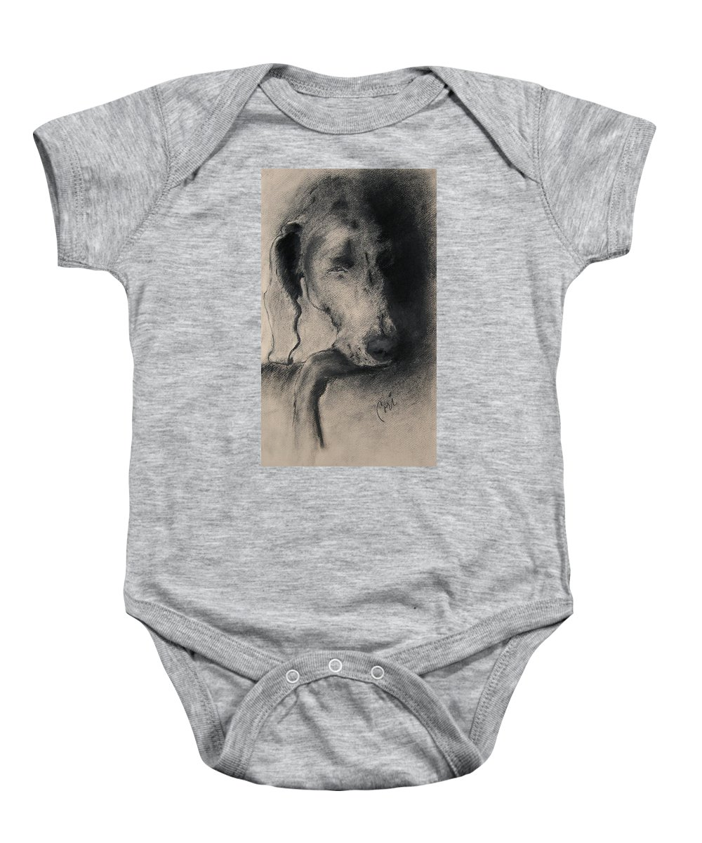 Weimaraner Baby Onesie featuring the drawing Silhouette by Cori Solomon