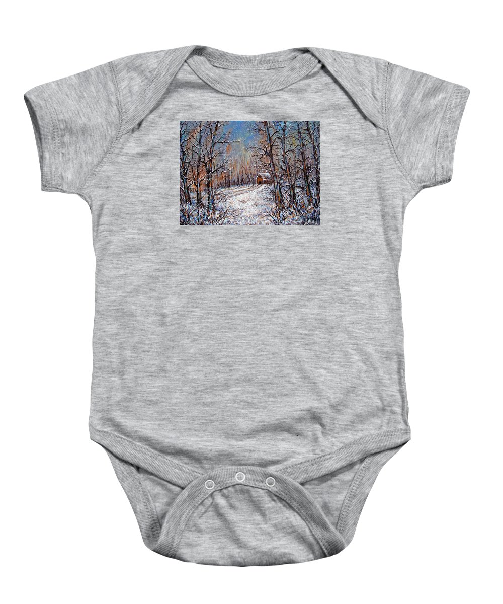 Landscape Baby Onesie featuring the painting Snowing in the Woods by Natalie Holland