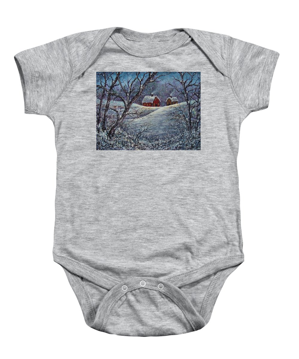 Landscape Baby Onesie featuring the painting Snowy Day by Natalie Holland