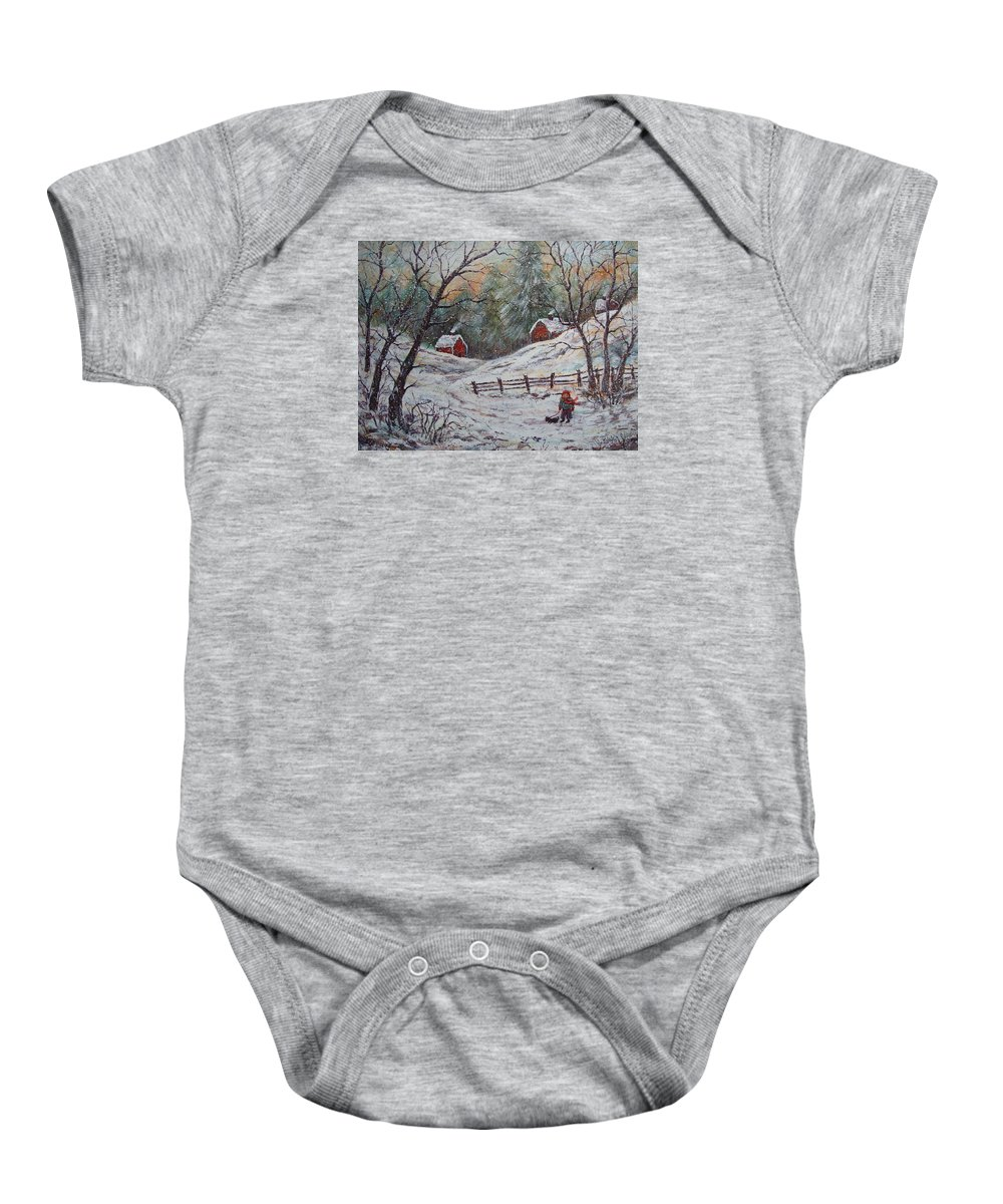 Landscape Baby Onesie featuring the painting Snowy Walk. by Natalie Holland